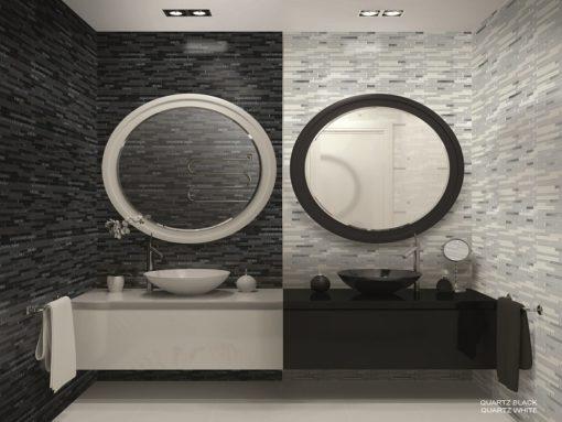 mosaique quartz noir et blanc