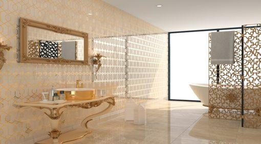 lavabo blanc et or