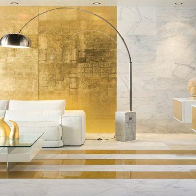lavabo pan de oro en verre