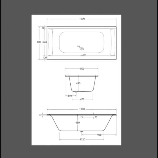 baignoire à encastrer en acrylique 190x80x45cm confort