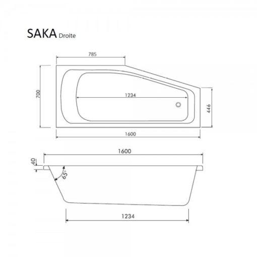 baignoire asymétrique acrylique 160x70cm Saka droite