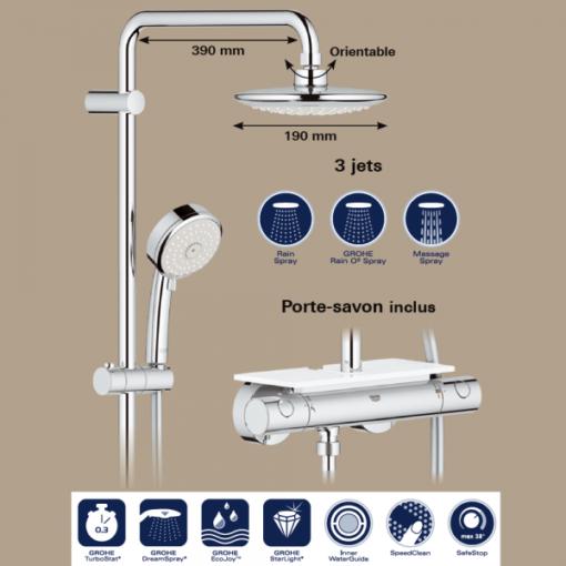 Colonne de douche EUPHORIA SYSTEM exclusive 190 avec tablette