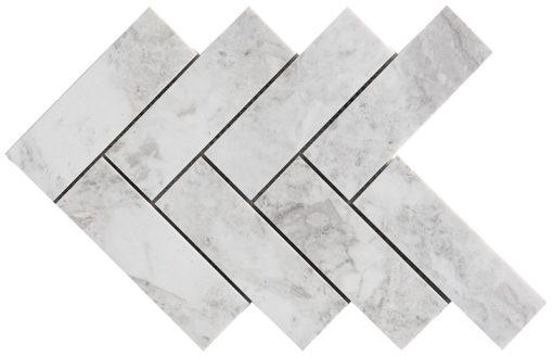Mosaïque Royal Marbre blanc Big Herringbone