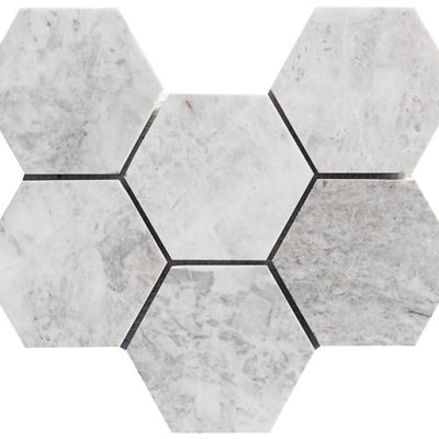 Mosaïque Royal White Marbre 10cm Hexagon