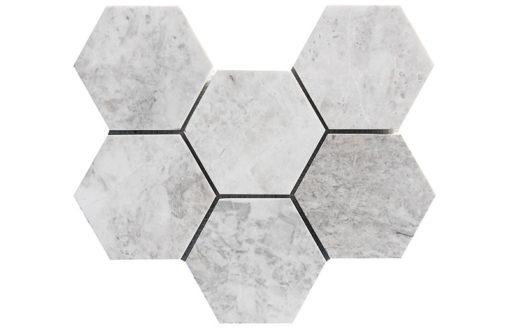 Mosaïque Royal White Marbre 10cm Hexagon