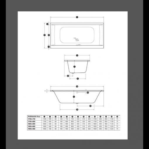 baignoire à encastrer en acrylique 180x80x45cm confort