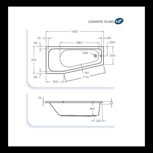 baignoire acrylique asymetrique 160x75cm espace