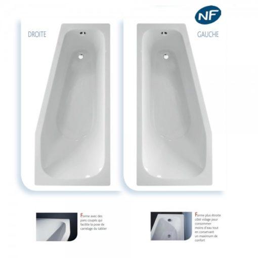 baignoire acrylique asymetrique droite et gauche 160x75cm espace