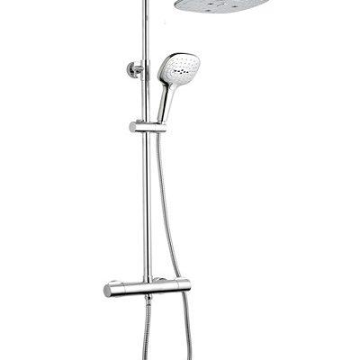 barre de douche caresse carrée chromée