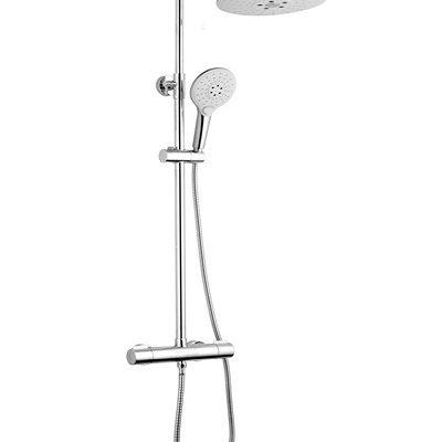 barre de douche caresse rond blanc