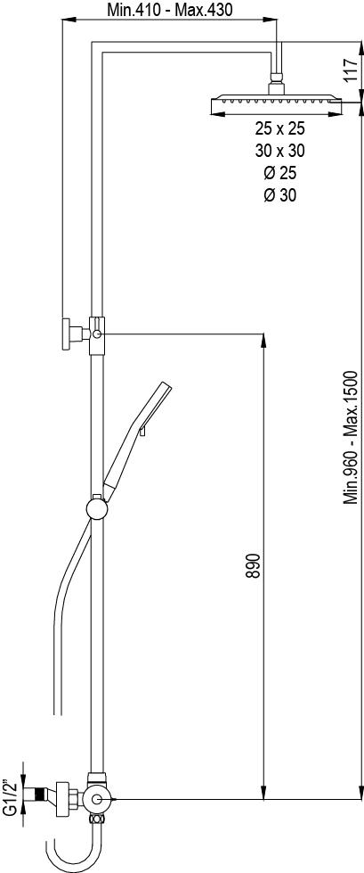 barre de douche berenice carré