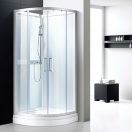 cabine douche 1/4 de rond en verre blanc vichy