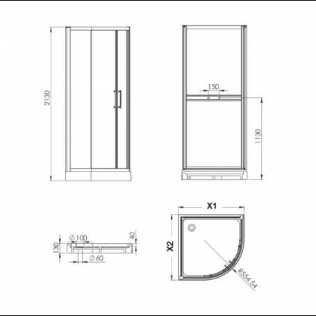 cabine douche 1/ 4 de rond en verre blanc