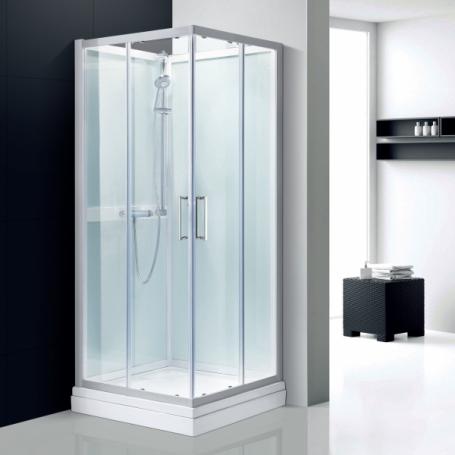 cabine douche d'angle en verre blanc aix