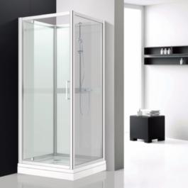 cabine douche d'angle en verre blanc evian