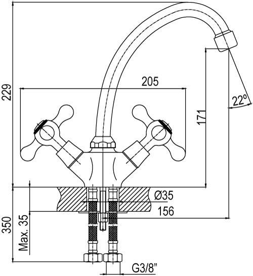 chronos coivre mélangeur d'évier