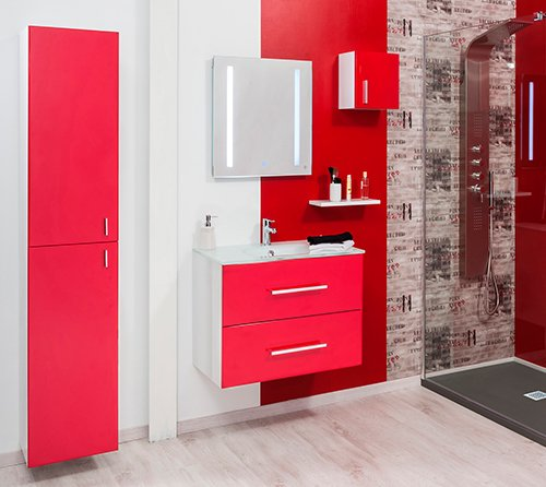 meuble de salle de bain modulo rouge