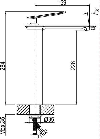 mitigeur de lavabo bec haut