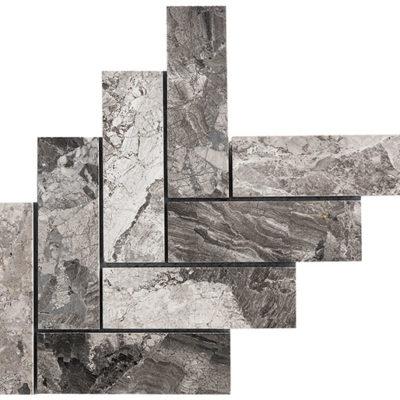 mosaïque atlantic gris big herrignbone en marbre