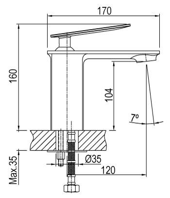 quant mitigeur de lavabo dimension
