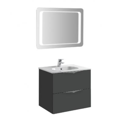 Meuble de salle de bain 60cm laqué gris AGATE