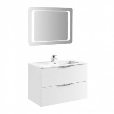 Meuble de salle de bain 80cm laqué blanc AGATE