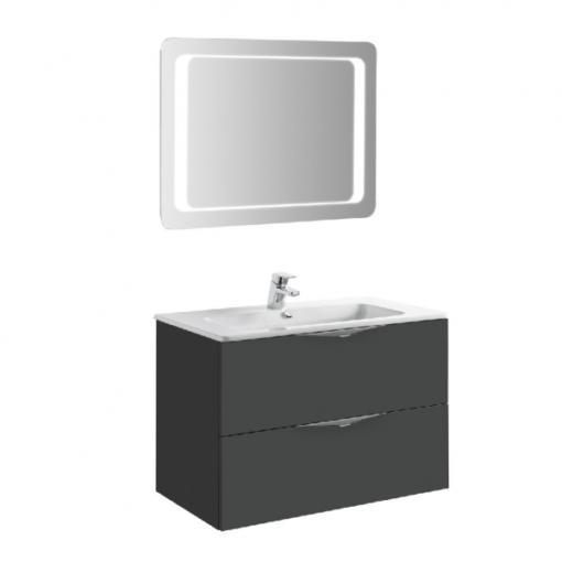 Meuble de salle de bain 80cm laqué gris AGATE