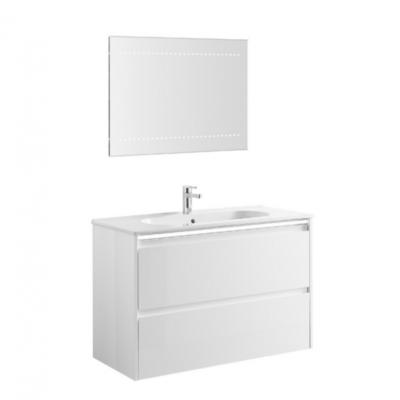 Meuble de salle de bain suspendu 100cm bandeau LED KLEA
