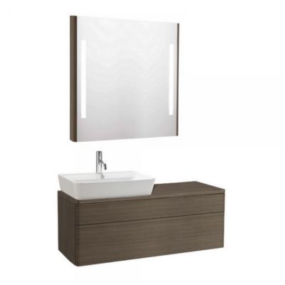 Meuble de salle de bain suspendu 120x45cm bois cendré EMMA