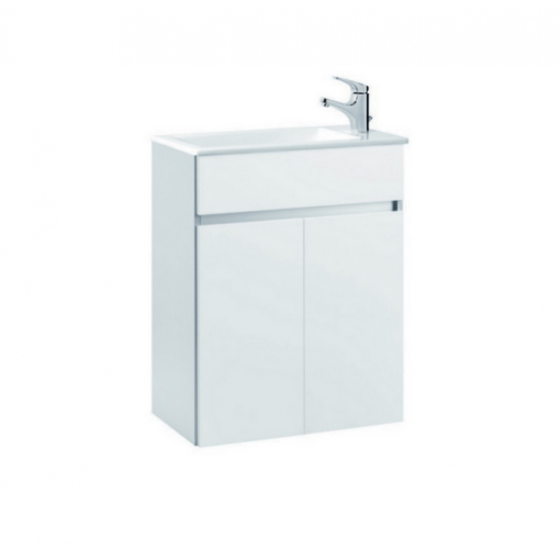 Meuble de salle de bain suspendu 58x32cm blanc COMPACT