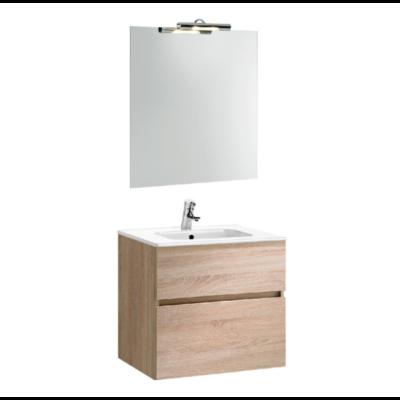 Meuble de salle de bain suspendu 60cm chêne clair JADE