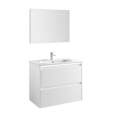 Meuble de salle de bain suspendu 80cm bandeau LED KLEA