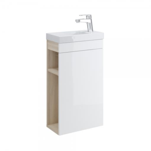 Meuble lave-mains blanc 40cm avec rangement latéral COSMIC