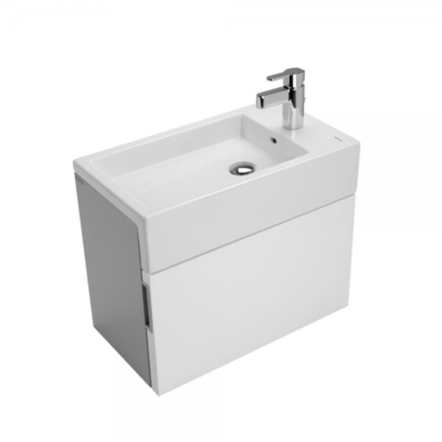 Meuble lave-mains gris et blanc, vasque céramique FLAT