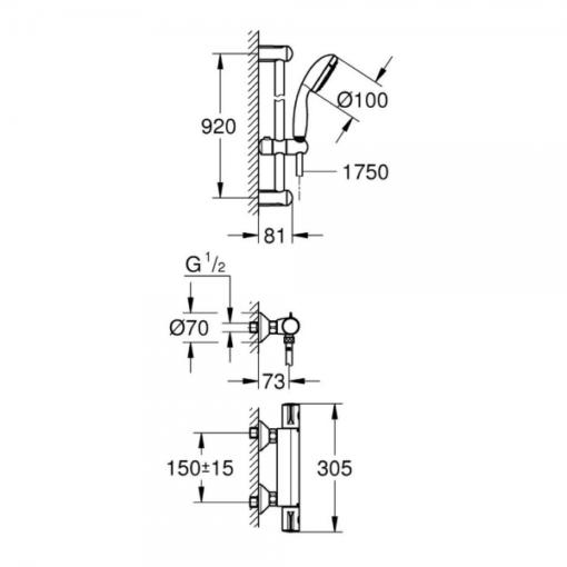 Set de douche Thermostatique GROHTHERM800 + TEMPESTA II 900mm