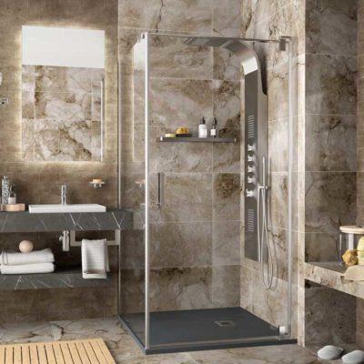 Malmo parois d angle de douche une porte un fixe par salgar